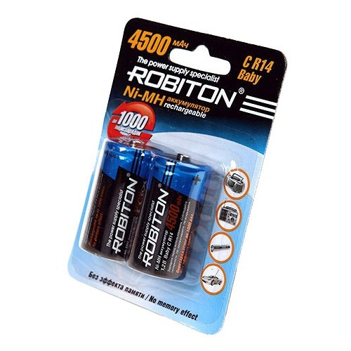 Фото - Аккумулятор Ni-Mh 4500 мА·ч ROBITON C R14 Baby, 2 шт. аккумулятор li ion 550 ма·ч robiton 16340 кол во в упаковке 2 шт