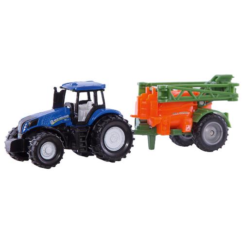 Трактор Siku с прицепом (1668) 1:72 14 см синий/оранжевый/зеленый трактор экскаватор falk педальный с прицепом зеленый 225 см