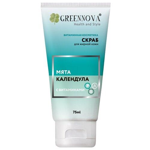 Green Nova скраб для лица Мята календула с витаминами 75 мл