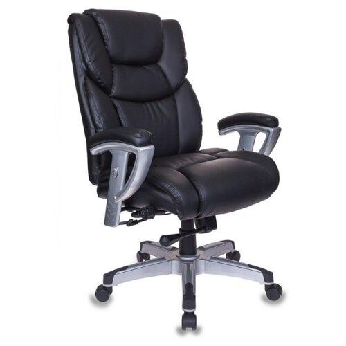 Компьютерное кресло Бюрократ T-9999 для руководителя, обивка: искусственная кожа, цвет: черный кресло руководителя бюрократ t 9910n black черный искусственная кожа пластик серебро