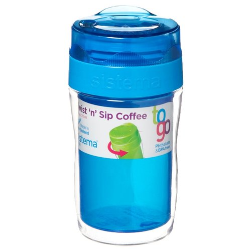 Термокружка Sistema Small Twist'n'Sip Coffee To Go (0,315 л) blue контейнер для продуктов sistema to go triple split 2л blue 20920