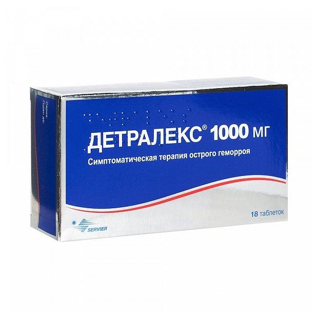 Детралекс таб. п/о плён. 1000 мг №18