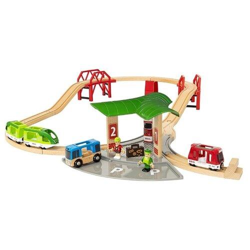 Brio Стартовый набор Железная дорога с автовокзалом и мостами, 33627