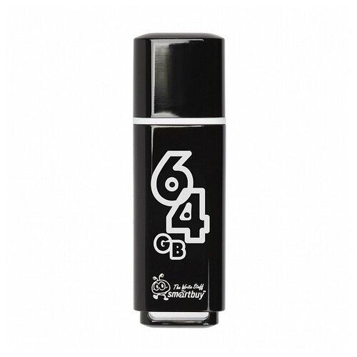 Фото - Флешка SmartBuy Glossy USB 2.0 64 GB, смолистый черный флешка smartbuy art 64 gb черный
