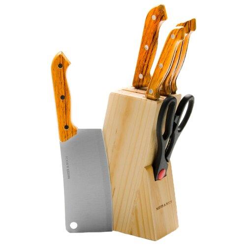 Набор MAYER & BOCH 5 ножей и ножницы с подставкой 397 / 398 / 399 коричневый под деревоНаборы ножей<br>