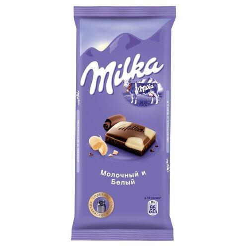 Шоколад Milka молочный и белый, 90 гШоколадная плитка<br>