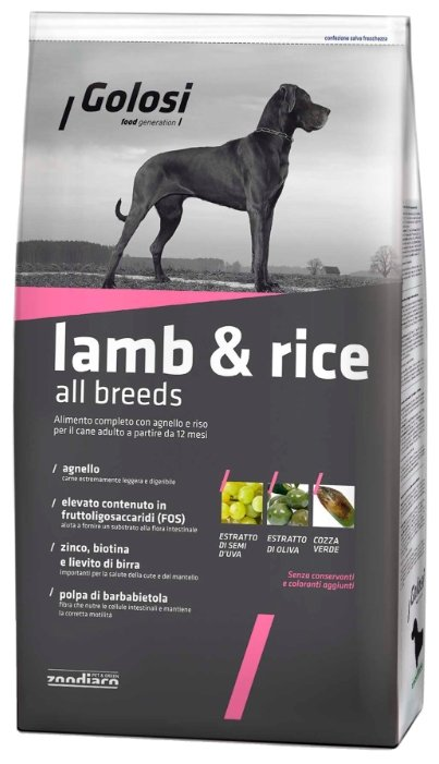 Корм для собак Golosi (12 кг) Lamb & Rice All Breeds