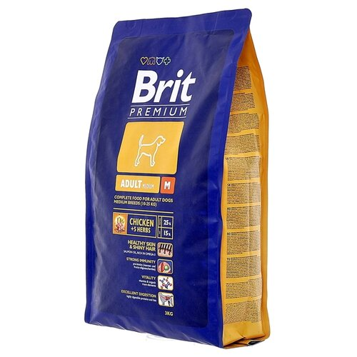 Сухой корм для собак Brit Premium курица 3 кг (для средних пород)