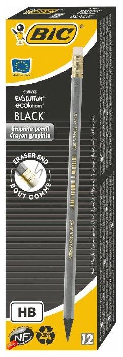 BIC Набор чернографитных карандашей Evolution Black 12 шт (918484)