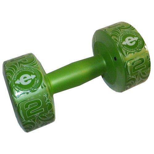 Гантель цельнолитая Euro classic ES-0376 2 кг зеленый перламутр