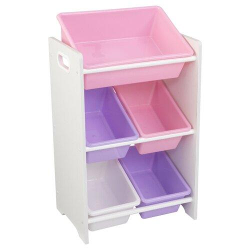 Фото - Стеллаж KidKraft с 5 контейнерами 43х30х74 см Pastel & White kidkraft эксклюзивный книжный шкаф kidkraft pastel