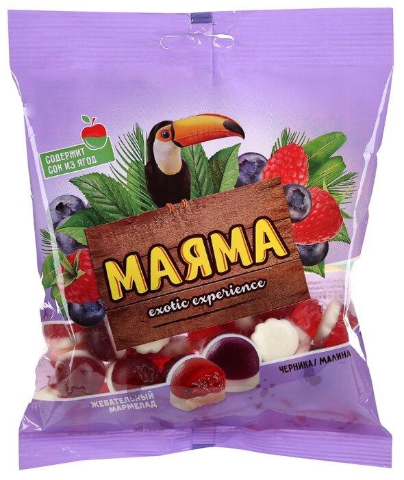 Мармелад Маяма жевательный, с желейной начинкой со вкусом черники и малины со сливками 170 г