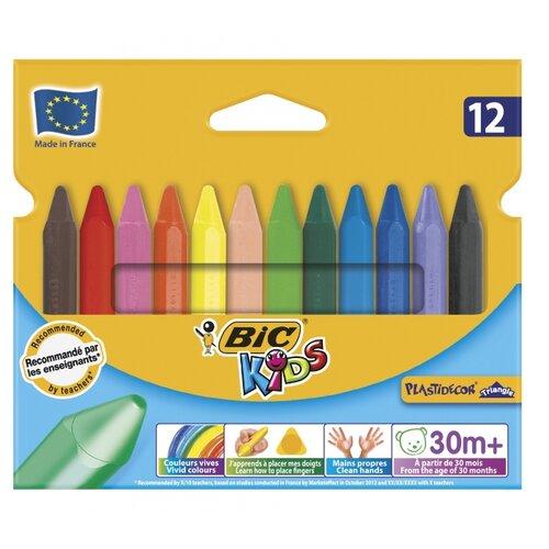 BIC Цветные мелки Plastidecor Triangle 12 цветов (829773)