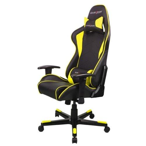 Компьютерное кресло DXRacer Formula OH/FE08 игровое, обивка: искусственная кожа, цвет: черный/желтый игровое компьютерное кресло oh dj188 n