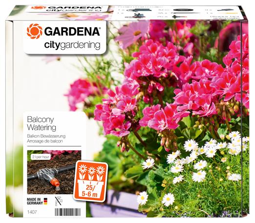 GARDENA Набор капельного полива горшечных растений 1407-20, длина шланга:10 м, с таймером, кол-во растений: 25 шт.