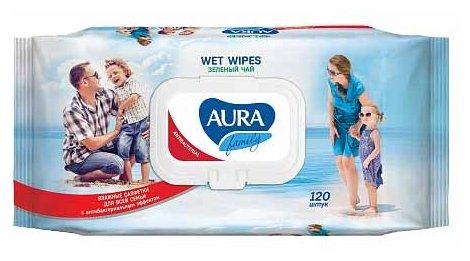 Влажные салфетки антибактериальные Aura Family Подорожник, 120 шт.