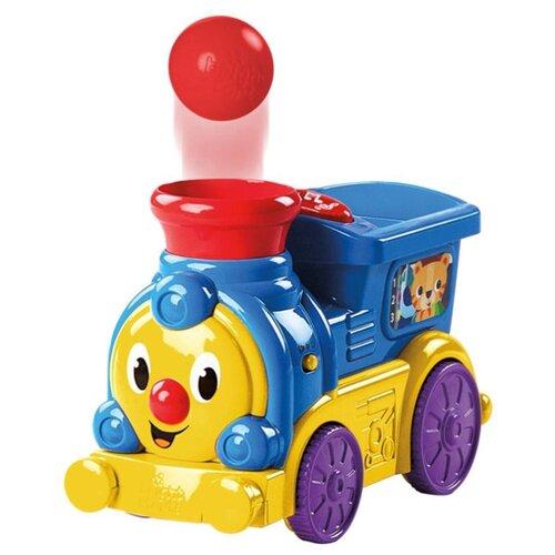 Купить Интерактивная развивающая игрушка Bright Starts Музыкальный паровозик с мячиками синий/желтый/красный, Развивающие игрушки