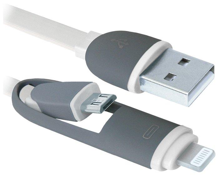 Кабель Defender USB - microUSB/Apple Lightning (USB10-03BP) 1 м
