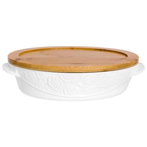 Горшок для запекания Elan gallery Белые розы 860035, 1.6 л (29х20х7.5 см) кокотница для жюльена elan gallery 110771 0 26 л 15х10х6 см