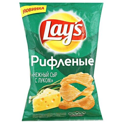 Чипсы Lay's картофельные Нежный сыр с луком рифленые, 150 г недорого