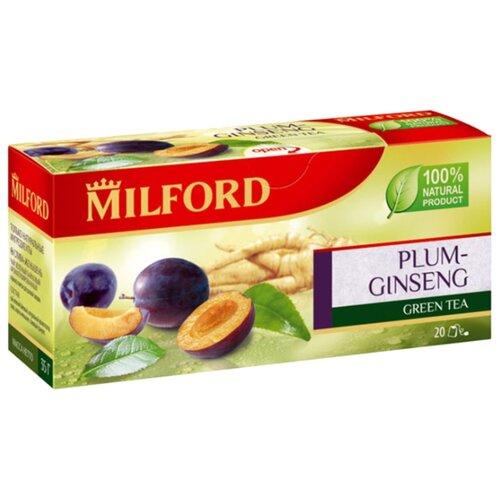 Чай зеленый Milford Plum-ginseng в пакетиках, 20 шт. чай зеленый milford wellness в пакетиках 20 шт