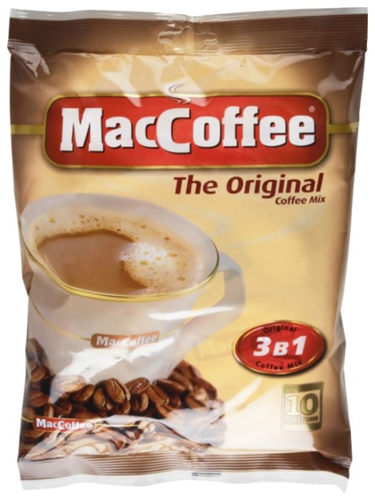 Растворимый кофе MacCoffee The Original 3 в 1, в пакетиках 25 штук