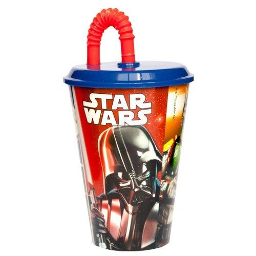 Stor Стакан пластиковый с соломинкой и крышкой спортивный 430 мл Звездные Войны КлассикаБокалы и стаканы<br>