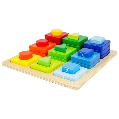 деревянные игрушки mapacha лабиринт сортер большой на колесиках Пирамидка-сортер Mapacha Цвета и фигуры 76667