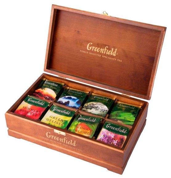 Подарочный набор чая GREENFIELD 8 видов ассорти, пакетированный, 96 пак/уп, деревянная шкатулка