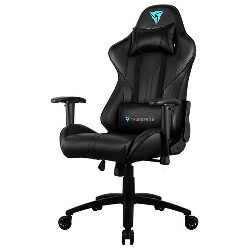 Компьютерное кресло ThunderX3 RC3 игровое, обивка: искусственная кожа, цвет: черный кресло компьютерное игровое thunderx3 tgc12 bg черный зеленый 4710700959572