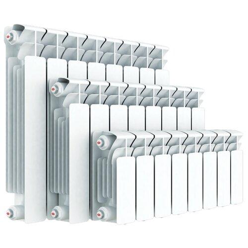 Радиатор секционный биметаллический Rifar Base 350 x9 теплоотдача 1224 Вт, подключение универсальное боковое RAL 9016 биметаллический радиатор rifar рифар b 500 нп 10 сек лев кол во секций 10 мощность вт 2040 подключение левое