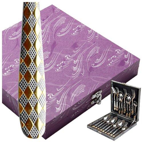 MAYER & BOCH Набор столовых приборов 25733, 18 шт. серебристый / золотой