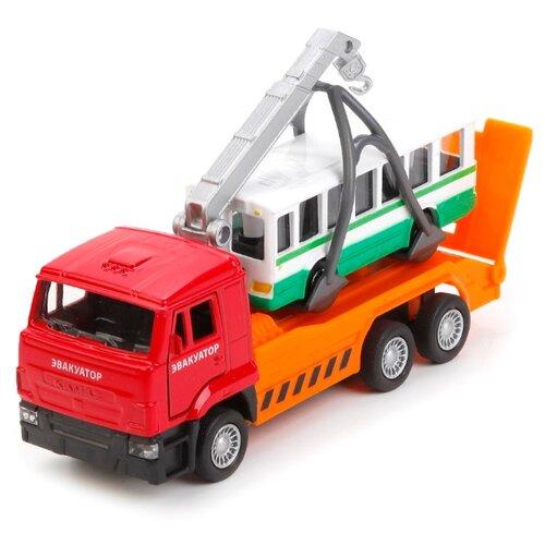Купить Набор машин ТЕХНОПАРК КамАЗ эвакуатор с автобусом (SB-17-24-H-WB) оранжевый/белый/зеленый, Машинки и техника