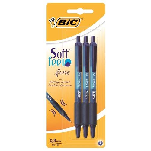 BIC Набор шариковых ручек Soft Feel Clic, 0.35 мм (893221), синий цвет чернил