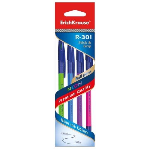 Купить ErichKrause Набор шариковых ручек R-301 NEON, 0.7 мм, 4 шт. (42023EK), синий цвет чернил, Ручки