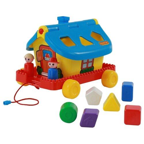 Каталка-игрушка Полесье Садовый домик на колесиках (56443) голубой/желтый/красный каталка игрушка полесье биосфера котёнок 54456