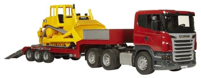 Набор техники Bruder Прицеп-платформа Scania с гусеничным бульдозером CAT (03-555) 1:16 86.5 см