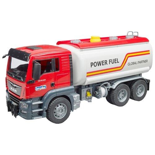 Купить Автоцистерна Bruder MAN TGS (03-775) бензовоз 1:16 50.7 см белый/красный, Машинки и техника