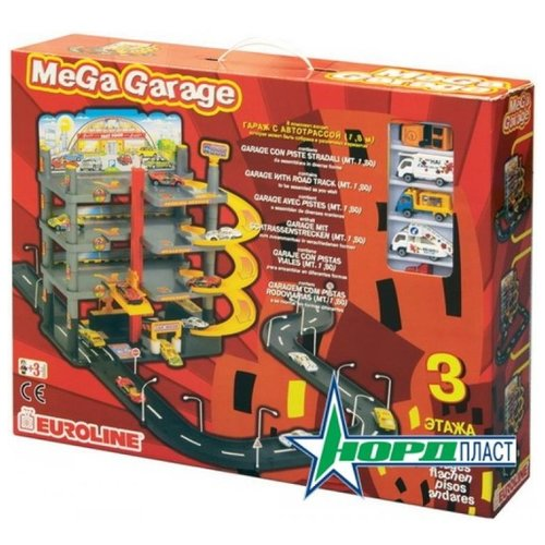 Нордпласт Мега гараж (с дорогой) красный/желтый/серый/черныйДетские парковки и гаражи<br>