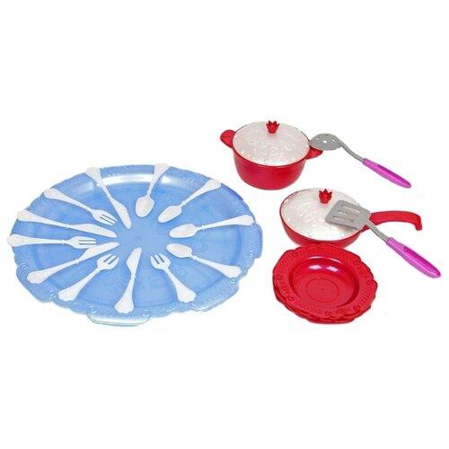 Набор посуды Нордпласт Волшебная хозяюшка 616 красный/белый/голубой ролевые игры нордпласт набор волшебная хозяюшка 12 предметов