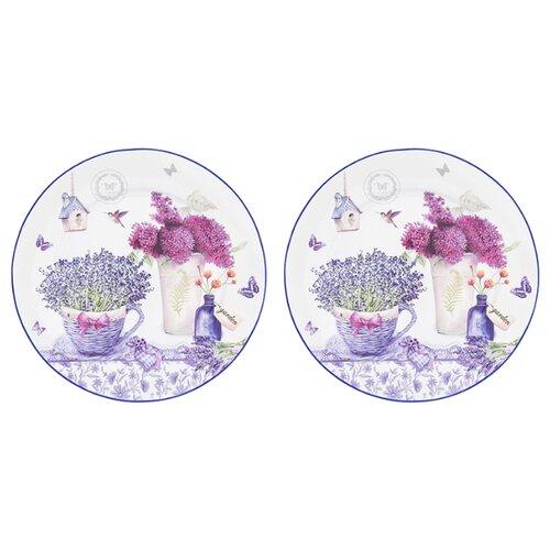 Elan gallery Набор круглых тарелок Лаванда 26 см, 2 шт белый/сиреневый набор кружек 2 предмета 320 мл 12х8 5х10 5 см elan gallery арабески бело бирюзовые