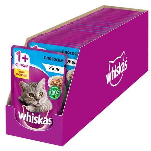 Фото - Влажный корм для кошек Whiskas с лососем 24 шт. х 85 г (кусочки в желе) влажный корм для котят whiskas беззерновой с телятиной 24шт х 85 г кусочки в желе