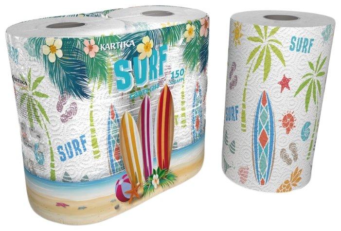 Полотенца бумажные World Cart Kartika collection Surf белые с рисунком двухслойные