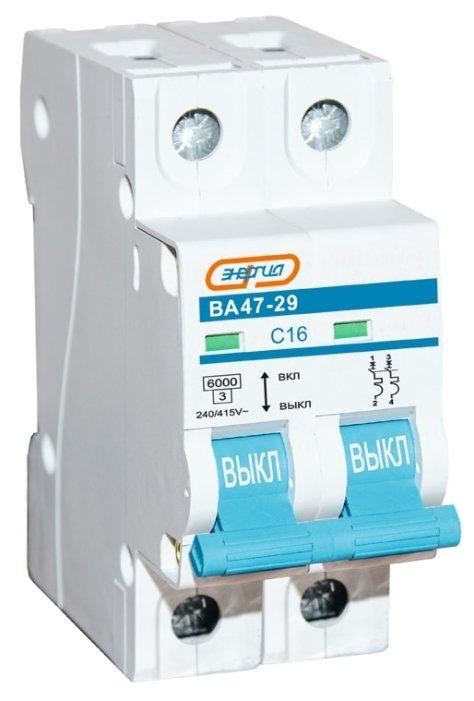 Автоматический выключатель Энергия ВА 47-29 2P (C) 6kA — купить по выгодной цене на Яндекс.Маркете