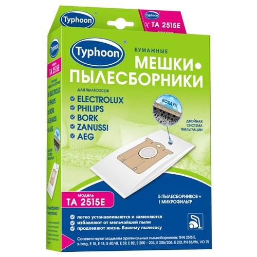 Тайфун Бумажные мешки-пылесборники TA 2515E белый 5 шт.