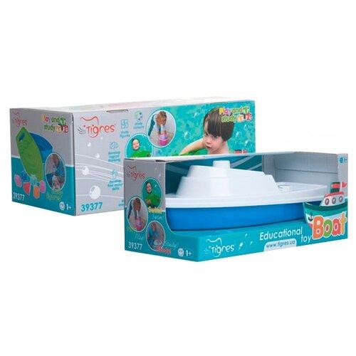 Купить Игрушка для ванной Тигрес Кораблик (39377) синий/белый, Игрушки для ванной