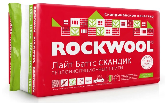 Каменная вата Rockwool Лайт Баттс Скандик 1200x600х150мм 5 шт