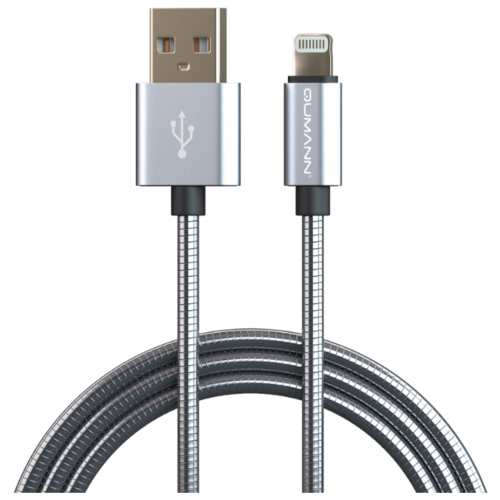 Кабель Qumann USB - Lightning 1 м серебристый