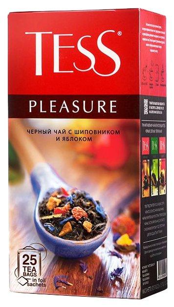Чай Tess Pleasure черный с шиповником и яблоком 25 пакетиков
