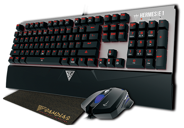 GAMDIAS Клавиатура и мышь GAMDIAS HERMES E1 + DEMETER E2 + NYX E1 lighting Black USB